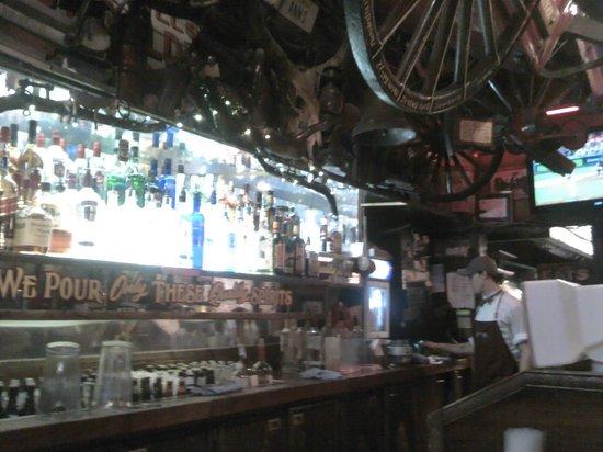 Fanny Ann's Saloon: Main bar downstairs, well stocked