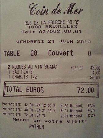 Coin De Mer : 72 € pous deux frites moules de mer...