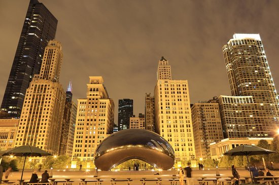 Chicago, IL: Cloud Gate night view