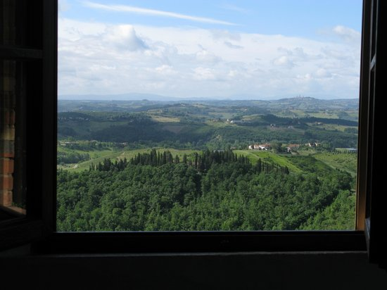 La Collina degli Olivi: View from bedroom, San Gimignano in upper right corner