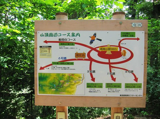 Mt. Takao: 高尾山・・・山頂付近の道路サイン