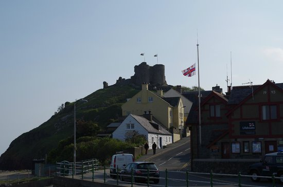 The Moelwyn: Criccieth castle and lifeboat station from outside hotel