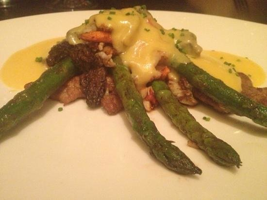 Truffles: Seared veal medallions with Alaskan king crab, morel mushrooms, asparagus, and hollandaise sauce