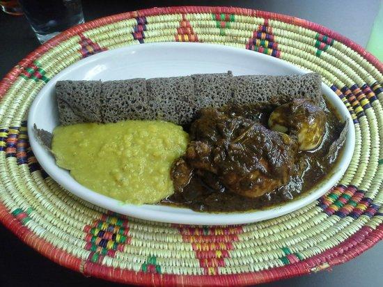 Uchenna: Doro Wat - Chicken, lentils, and injera bread