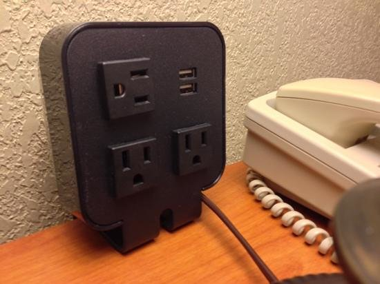 Hampton Inn Ukiah: power ports next to bed. (every hotel should have these)