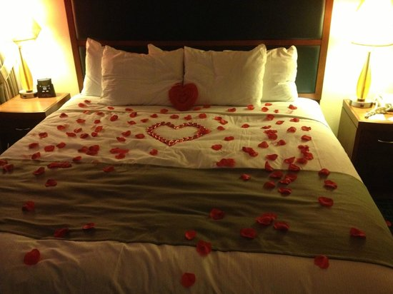 DoubleTree Suites by Hilton Hotel New York City - Times Square: Sheriff Danny from the front desk did this for our engagement! Nice work!