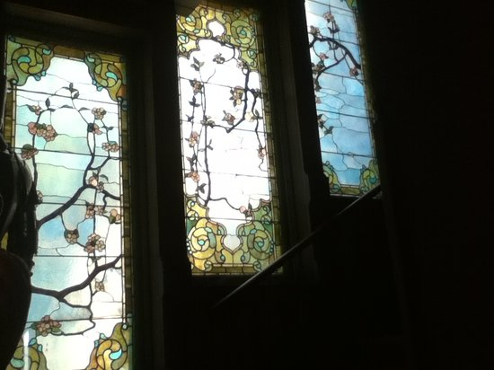 The Overlook Mansion: Stained glass in stairway