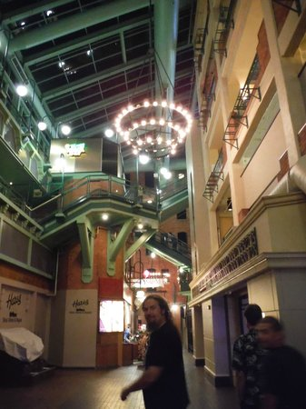 Greektown Casino : area around the casino with other shops inside glass roof.