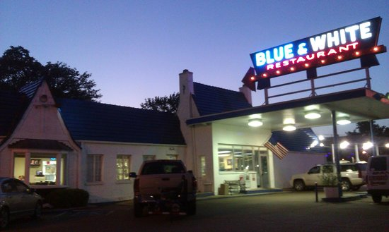 Blue White Restaurant In The Evening This Place Should Be On Diners Drive