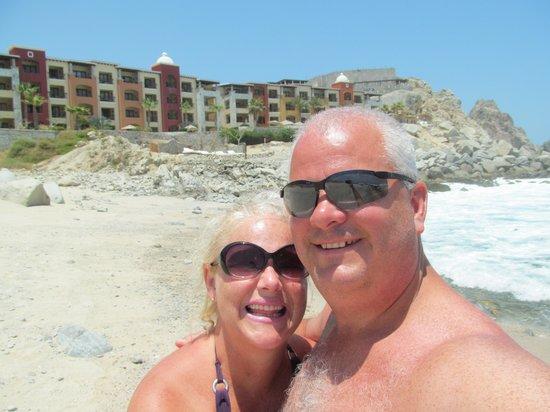 Hacienda Encantada Resort & Spa: My husband and I with the amazing resort in the backround.