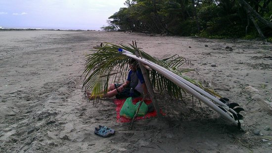 Playa Hermosa: We built a small palapa of sorts for some shade. It was not disturbed for 5 days.
