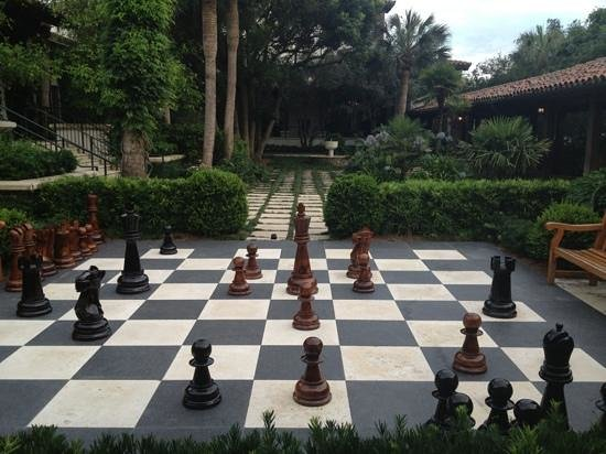 The Lodge at Sea Island: life size chess at The Cloister