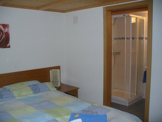 Chalet-Hotel Rosa: Room and bathroom