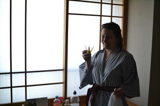 Kimono and origami at the Family Inn Saiko