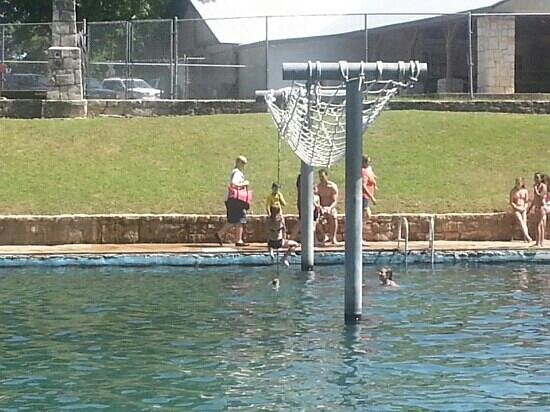 Rope swing area picture of landa park new braunfels for Swing over water