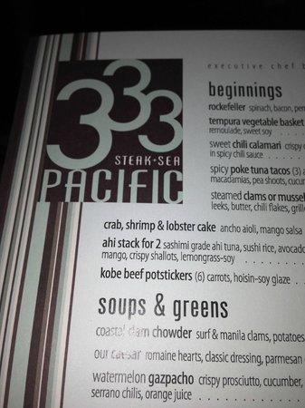 333 Pacific - Steaks & Seafood: 333 Menu
