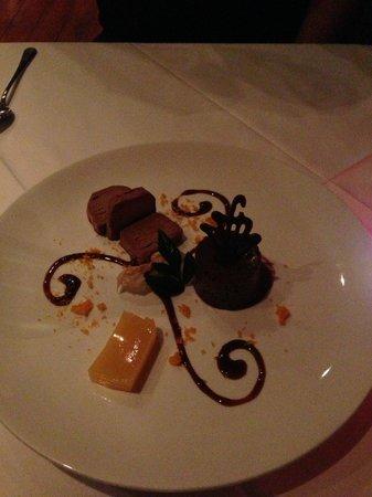 Bistro 1284: Valrhona chocolate parfait & mousse, orange textures - Delicious!!