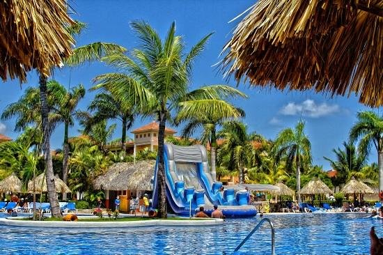 Grand Bahia Principe Punta Cana: One day they brought out the waterslide for the kids at main pool.  they loved it.