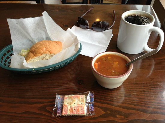 Acoustic Cafe: 1/3rd hoagie with a cup of vegi soup and a coffee