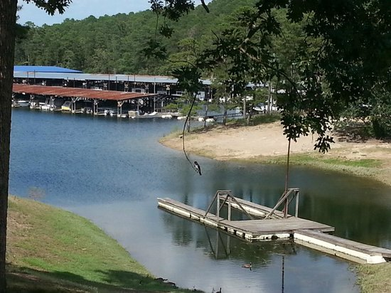 Brady Mountain Resort and Marina: View from room of boat dock leading up to resort.