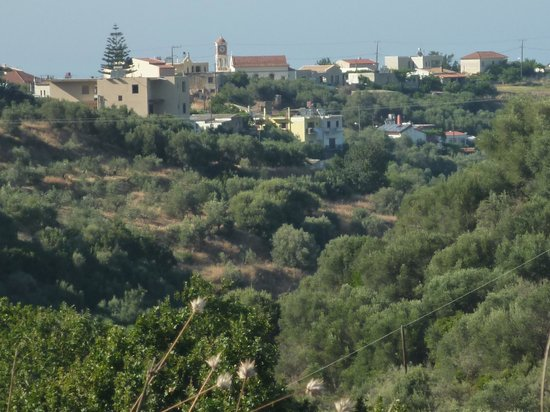 Hotel Orestis: View from the mountains, apartments are near the big tree