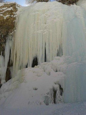 Zanskar Valley: Indeed a sight for sore eyes - A Frozen Waterfall near Nerak Base Camp