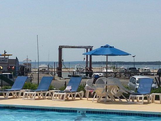 Heron Suites: pool overlooking water