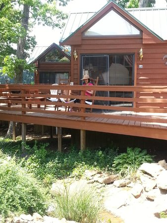 Creal Springs, IL: the cabin was really nice full kitchen small dinning area but deck is really big table and grill