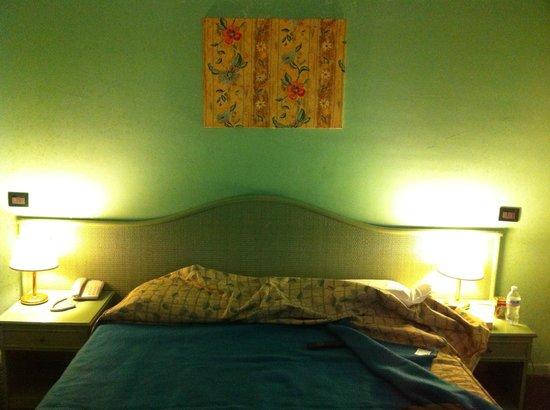 Hotel La Pergola: Arazzo sopra il letto (unico arredo alle pareti)