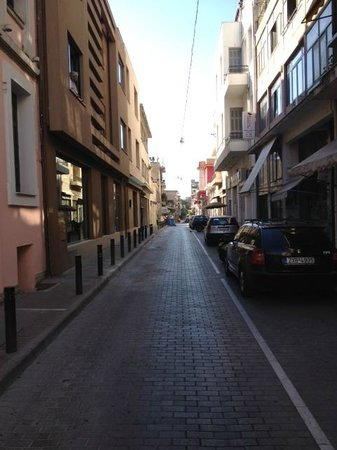 O&B Athens Boutique Hotel: Hotel is located on the left hand