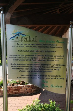 Alpenhof Hotel: Informationstafel