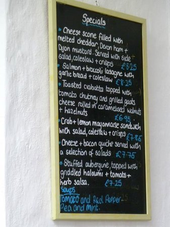 Cafe Green Ginger: Daily Menu on wall