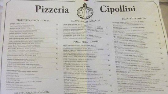 Pizzeria Cipollini: Menu card