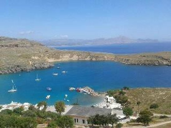 view from castle Lindos - Picture of Village of Lindos ...