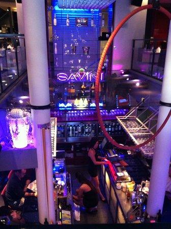Savini Resto-Bar Vinotheque : Seated on the second floor, amazing bar area down below