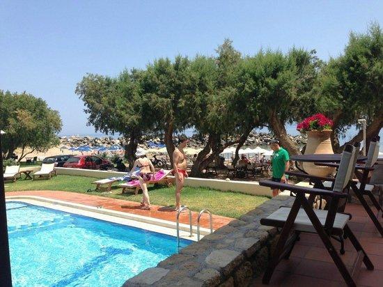 Aphrodite Beach Hotel: LA VISTA SUL MARE E LA PISCINA DALLA TERRAZZA