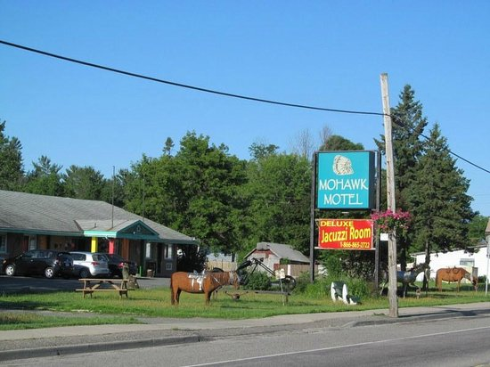 Mohawk Motel Canada: Very cool metal sculptures on the front lawn