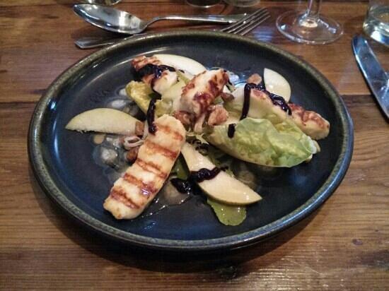 The Angel: halumi salad to start