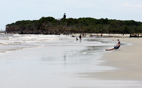 Hunting Island State Park Campground: View of Lighthouse from the beach.