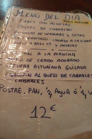 El Huerto del Ermitano: menu of the day