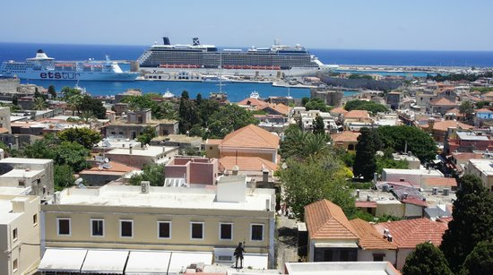 Minos Pension & Roof Garden Lounge: View from Minos rooftop - day