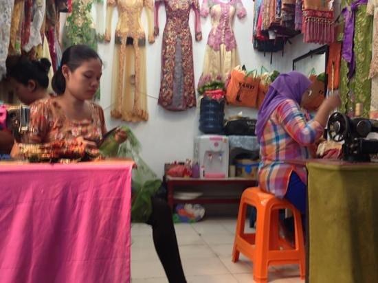 Medan, Indonesia: tailors at pajak ikan