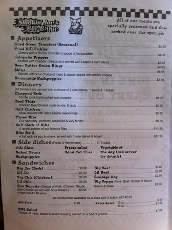 Smokin Joes : To-go menu page 1