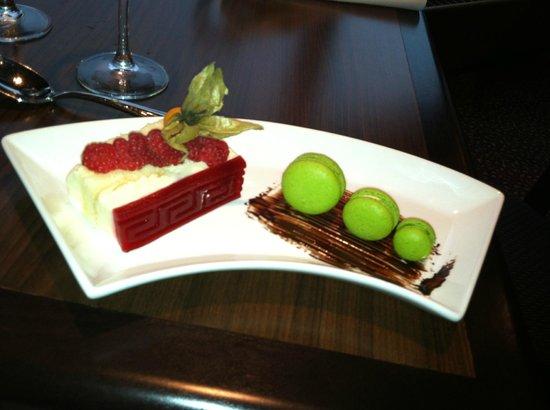 Lucy Maud Dining Room: Raspberry marscarpone torte