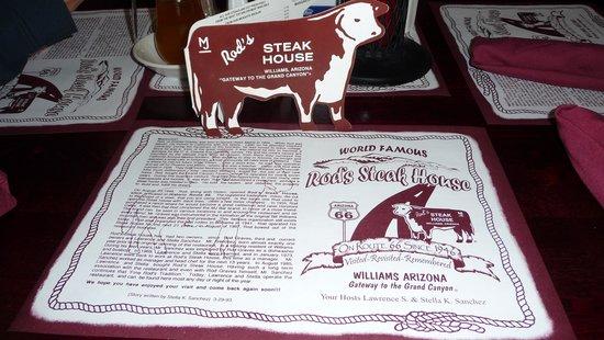 Classic menu from Rod's Steak House
