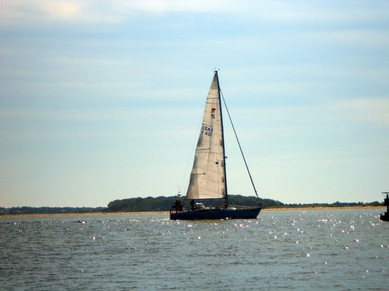 Cape Cod Ocean Manor: Sailboat heading out to sea - picture taken on Kalmus Beach