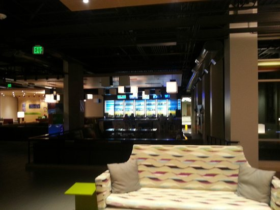 aloft Broomfield Denver: The center of the lobby with the bar in the background