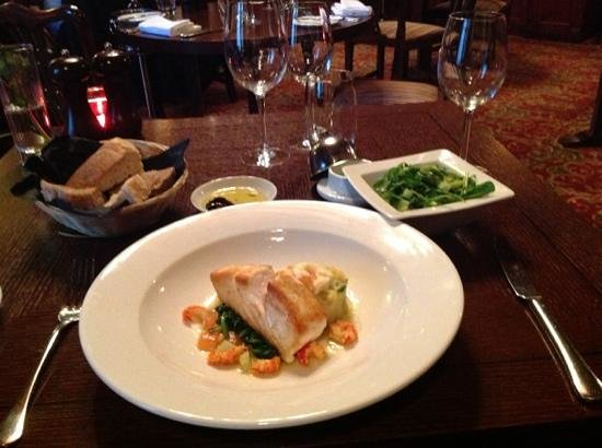 Macdonald Hotels: wild halibut,crayfish,crushed potatoes,spinach,green salad