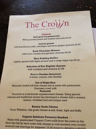 The Crown at Old Basing: Desert Menu