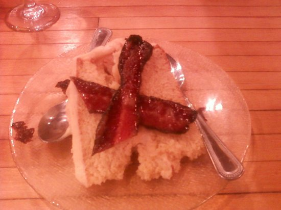 The Bears Den: Maple Bacon Cake.  The cake looked so much better than my cell phone camera shows.